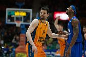 VALENCIA, SPAIN - JANUARY 21: Martinez (L) and Mohammed during Eurocup match between Valencia Basket Club and CSU Asesoft at Fonteta Stadium on January 21, 2015 in Valencia, Spain