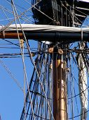 picture of yardarm  - Close up of riging and mast on old tallship - JPG