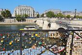 Love Locks Near The Pont Neuf In Paris, France
