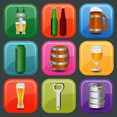 Set icons beer equipment, for creating your own infographics