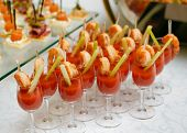 Catering - Snack Coctails With Tomato Juice And Shrimps