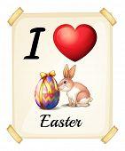 Illustration of I love Easter sign