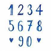 Set of hand drawn watercolor numbers and mathematical symbols.
