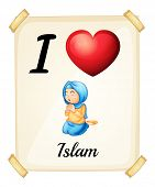 Illustration of I love Islam sign
