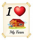 Illustration of I love my farm sign