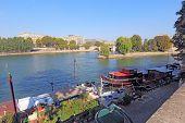 Boats Near Pont Neuf And Ile De La Cite In Paris, France