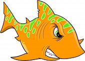 Angry Orange Shark Vector Illustration Art