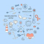 Sea Doodle Hipster Set Over Light Blue