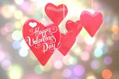 Happy valentines day against light circles on bright background