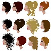 stock photo of black curly hair  - Vector set of trendy hair styling for woman  - JPG