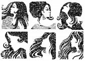 Vector set of grunge closeup silhouette portraits of beautiful woman with long hair