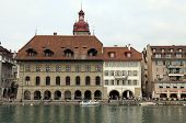 Reuss River And Old Town, Lucerne, Switzerland.