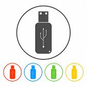 Usb Icon - Vector On A Set Flat Button