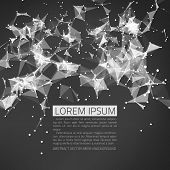 Abstract vector mesh background. Futuristic technology style. Flying debris. Black and white.