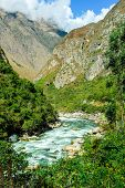 picture of andes  - Urubamba river near Machu Picchu (Peru) following the Andes Mountains in Peru between Cusco and Machu Picchu.