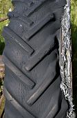 Worn-out tractor tire