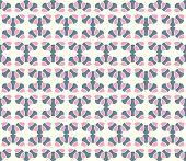 Pink Abstract Curve Flower Pattern On Pastel Background
