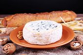 Blue cheese on earthenware dish with nuts, baguette and hay on burlap cloth, wooden table and dark background