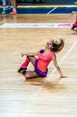 Girl Cheerleading Appear On Stage Match Of The Euroleague Basketball Fiba Womens
