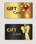 Gift coupon, gift card, discount card, business card, gold and black, bow, ribbon. Holiday backgroun
