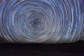 Vortex Night Exposure Star Trails of the Sky