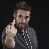 Goatee Young Man Showing Fuck You Sign