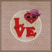 Love Heart Air Balloon Woman Character On Vintage Background