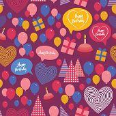 Seamless background - happy birthday. Heart, gift box, balloons, birthday cake, hat. Blue, pink, vio