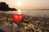 Red Shape Heart  On Rock