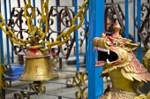 Old Bell And Dragon Head In Asia Temple, Nepal