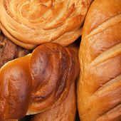 variety of fresh bread background
