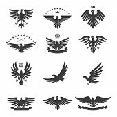stock photo of eagles  - Eagle silhouettes bird heraldic symbols icons black set isolated vector illustration - JPG