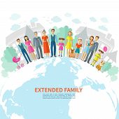 stock photo of extend  - Extended family poster with flat men women children and pets on globe vector illustration - JPG