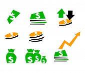 vector set of money symbol or business
