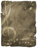 musical background on old paper