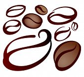 design elements of coffee beans on white