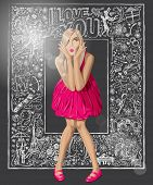Love concept. Vector surprised blond in pink dress against background with love story elements