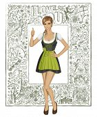 Love concept. Vector cute woman in drindl on oktoberfest shows well done against love story elements background