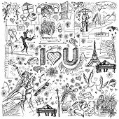 picture of ring-dove  - Vector sketch background with love story elements - JPG
