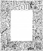 foto of ring-dove  - Vector sketch frame background with love story elements - JPG