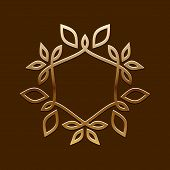Vector Antique Golden design.Line art logo template.