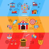picture of funfair  - Amusement park flat horizontal banner set with funfairs carnival amazing show isolated vector illustration - JPG