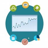 Icons of financial analytics, charts and graphs