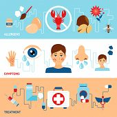 picture of allergy  - Allergy banner set with allegens symptoms treatment elements isolated vector illustration - JPG