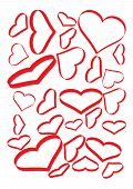 pic of tilt  - Red Hearts Set on a White Page They Are Different Sizes and Tilts - JPG
