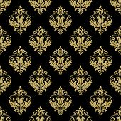 Pattern In The Style Of Baroque. Abstract Vector Golden Background