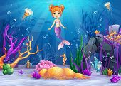 Illustration of the underwater world with a funny fish and a mermaid.