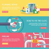 foto of pipeline  - Plumbing repair fix the clog pipeline horizontal banner set isolated vector illustration - JPG
