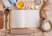 picture of cutting board  - Baking light warm background with blank cook book cutting board eggshell bread flour rolling pin - JPG