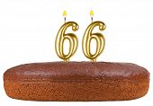 Birthday Cake With Candles Number 66 Isolated